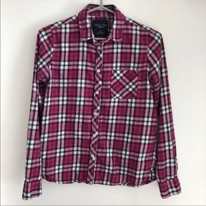 American Eagle Pink Flannel Shirt Size Small